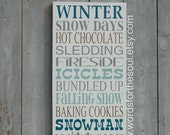 Winter Wall Art - Rustic Wood Signs - Christmas Wall Art - Let IT Snow - Holiday Wall Art - Winter Rules - Wall Hanging Decor - Home