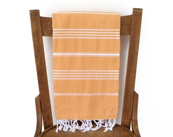 Turkish Beach Towel Handwoven Cotton Turkish Towel Turkish Bath Towel Fouta Sofa Throw Pareo Yoga Towel Spa Pareo APRICOT PESHTEMAL