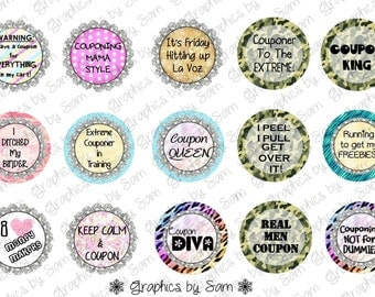 "1"" DIGITAL Bottle Cap IMAGES -Bling Extreme Couponer Featuring Men images as well - For Use On Finished Products & For Precut sale"