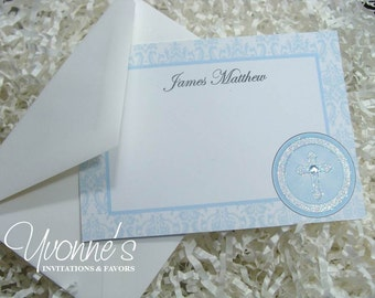 Thank You Note for Communion, Confirmation, Christening, Baptism - Blue Holy Cross for Boy for Religious Event