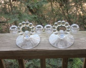 pair of candlewick clear glass low double candle holders