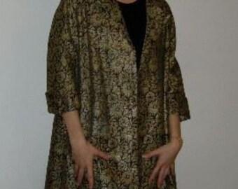 SWING COAT GOLD and  Black Swing Jacket Size Small to Medium Vintage Jacket Hollywood Regency Jacket at Ageless Alchemy