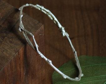 Olive Twig Bracelet, Sterling Silver Olive Branch Bangle Bracelet, Twig Bracelet, Silver or Gold Twig Bracelet