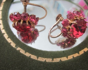 Vintage Pink Crystal Screw Back Earrings