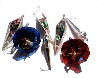Vintage 8 Plastic Christmas Ornaments, Holiday Decoration
