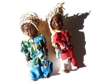 Vintage Island Plastic Dolls, Martinique Souvenir Dolls