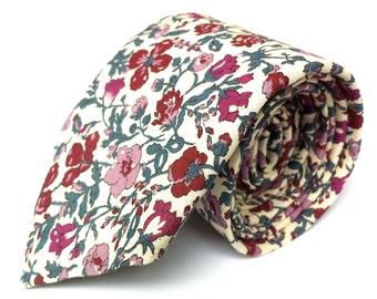 Liberty burgundy floral tie