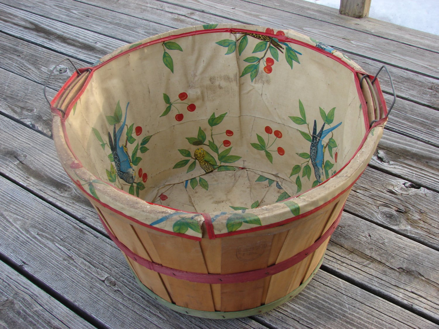 Vintage Wood Bushel Laundry Basket Parakeet And Cherry Oil