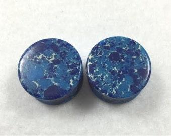 Dark Blue Agate Stone Plugs