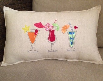 Tropical Drinks Accent Pillow