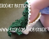 PATTERN for crocheted Alligator Socks- Baby, Child, and Adult Sizes