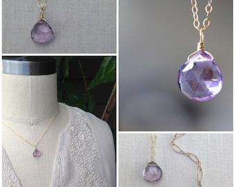 Purple Quartz Necklace, Pendant Briolette of Hydro Quartz on Gold Chain, Wire Wrap, Style Number 843