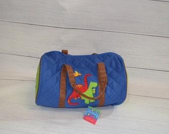 Monogram Quilted duffle bag, Duffle Bag, Travel Bag, DINO Bag- monogram overnight bag - Toddler Bag- birthday Gift