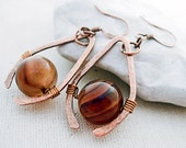 Red Agate Earrings Red Stone Earrings Gemstone Drop Earrings Natural Gemstone Earrings Hand Forged Jewelry Copper Dangle Earrings Handmade