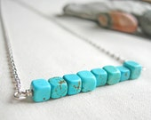 Turquoise Howlite Necklace Gemstone Bar Necklace Simple Bar Necklace Gemstone Layering Necklace Blue Gemstone Necklace Simple Stone Necklace