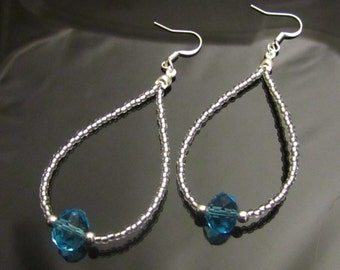Blue Aquamarine Crystal Silver Earrings