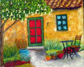 Back Yard Retreat, blissful and serene garden retreat, limited edition giclee print of original oil b y Marilu