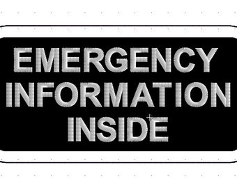 "2 x 4"" Emergency Information Patch for Service Dog Vest *  Your Choice Thread Color"