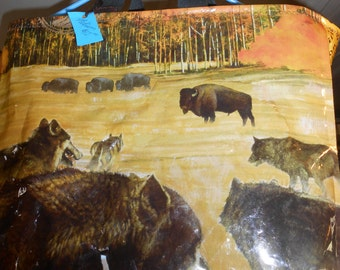 Wolf & Bison Tote ~ sturdy and attractive tote made by upcycling grain bags!