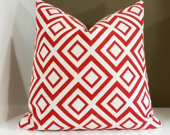 Red pillow cover - Geometric fabric both sides - select your size at checkout - Modern Pillow Cover