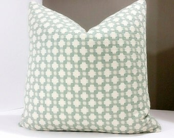 Designer pillow cover, Select your pillow size - Betwixt water and Ivory both sides - 16x16, 18x18, 20x20, 22x22 and 24x24