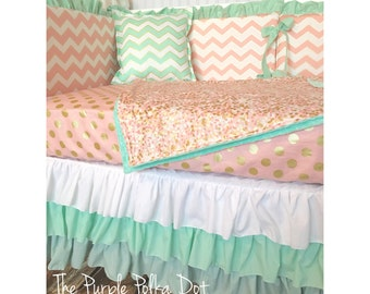 Mint, Pink And Gold Chevron Polka Dot Custom Crib Bedding Ombre Crib Skirt
