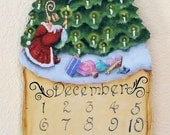 Hand Painted Christmas Calendar with Christmas Tree and Santa
