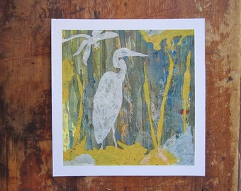 Heron and Dragonfly Collage- PRINT