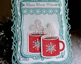 "Stampin up/Spellbinders Handmade ""Warm Winter Wishes "" card NEW"