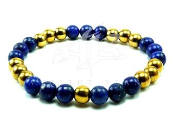 """Men's """"Yaser"""" Gold Blue Lapis Beaded Bracelet"""