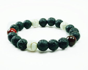 "Men's ""Black Maui"" Red Coral Howlite Lava Beaded Bracelet"