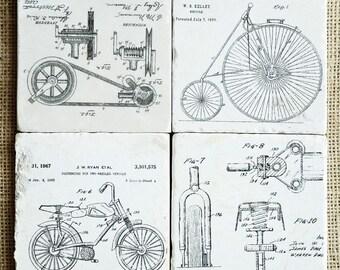 Bike Decor- Coaster Set, Bike Gift, Bicycle Gift, Bike Tile, Bicycle Decor, Bicycle Tile, Stone Coasters, Drink Coasters, Marble Coasters