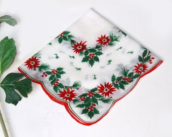 Vintage Christmas Handkerchief Hankie - Cotton Printed Poinsettias Hollies and Pine Leaves White Red Green Black  - Vintage