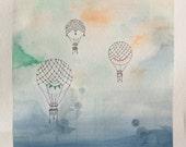 Original Watercolor Illustration - Vintage Balloons