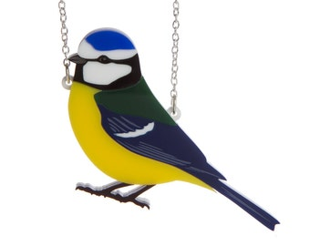 Blue Tit necklace - laser cut acrylic