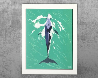 Fin Whale Art Print Illustration