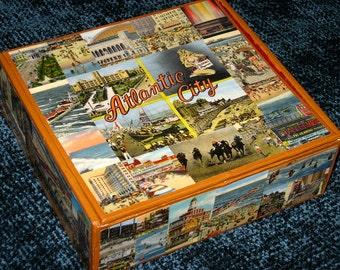 ATLANTIC CITY NJ travel postcard decoupage cigar box