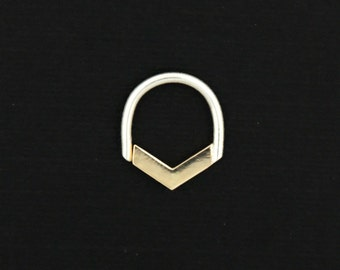 14K gold septum - LUXE EDITION - chevron / spike