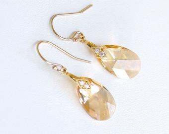 Gold Earrings - Swarovski Golden Shadow Earrings - Champagne Gold Bridesmaid Earrings - Swarovski Crystal Earrings - Wedding Earrings