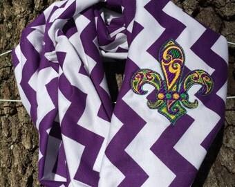 Mardi Gras Chevron Infinity Scarf- New Orleans