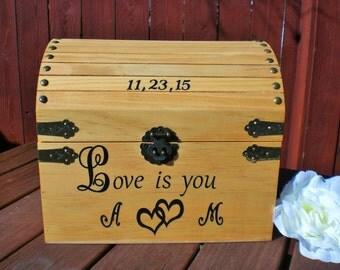 Wedding Card Box, Rustic Card Box, Wedding Card Box, Shabby Chic, Treasure Box/Keepsake Box, Personalized Card Box.