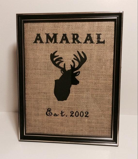 Deer & Family Name Burlap Wall Decor, Personalized wall print, Wedding prints, Housewarming ...
