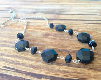 Raven Stone Necklace:  faceted black onyx chunky gemstone and crystal bib focal, silver cable chain