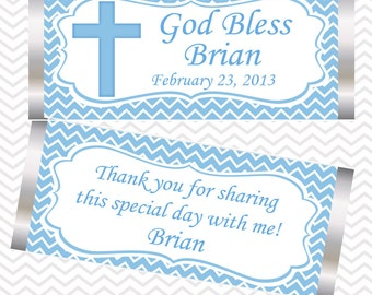 Cross Blue Baptism Christening First Holy Communion - Personalized Candy Bar Wrapper