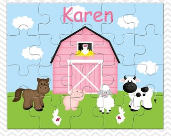 Barn Yard Pink Personalized Puzzle, Personalized Farm Puzzle, Personalized Kids Puzzle