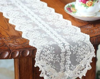 Free Shipping Wedding Tablecloth Table Topper Table Doily Runner,Embroidery&Lace 17x120cm
