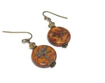 Dragonfly Czech Glass Beaded Earrings/ Dangle Earrings/ Antiqued Brass with Dragonfly Earrings