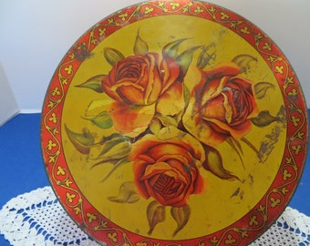 Old Roses Button Tin with Buttons