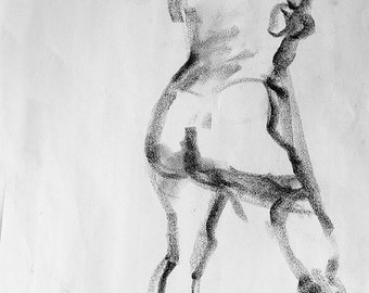 """Drawing woman gesture, fine art digital print from original charcoal drawing by artist, Vernon Grant, 18"""" x 24"""", Nude Gesture Charcoal"""