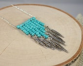 Tribal Turquoise Chevron Necklace with Silver Feathers